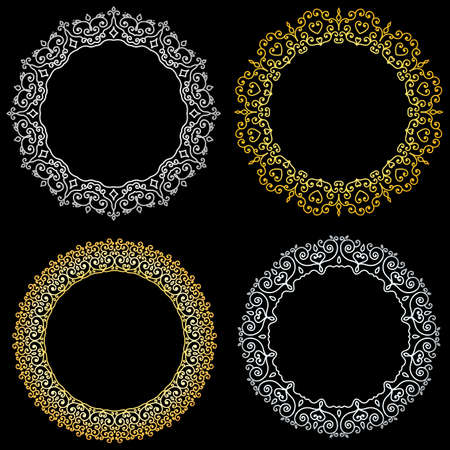 Set of round curly decorative frames. Gold and silver.