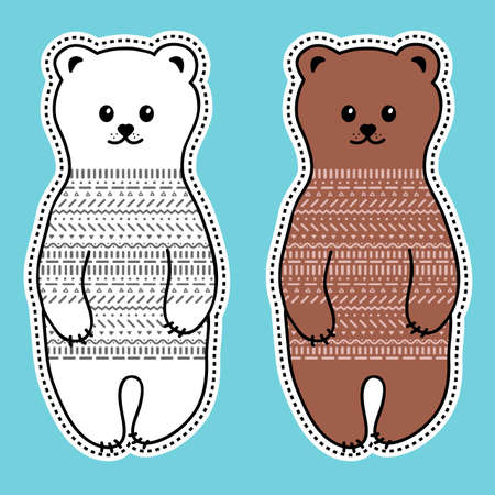 Vector illustration with cute doodle style bears. Sticker set. Illustration