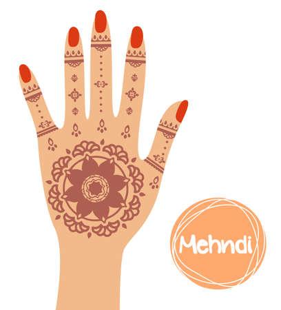 Henna tattoo. Mehandi in hand. Vector illustration