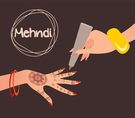Mehndi Design. Henna tattoo. Vector illustration Illustration
