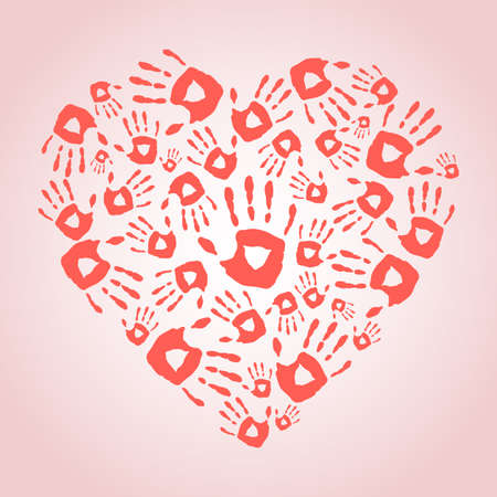 heart hand: Heart with hand print icons. Vector illustration