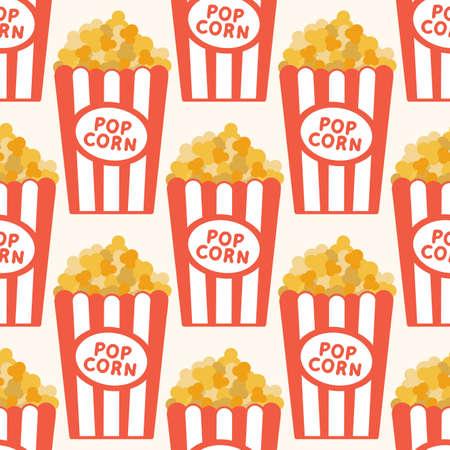 Seamless vector popcorn background. Cartoon vector illustration Illustration