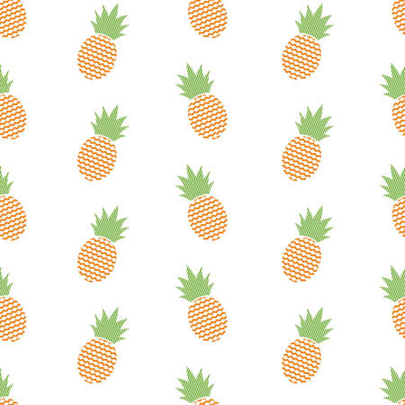 Pattern with abstract pineapples on white background