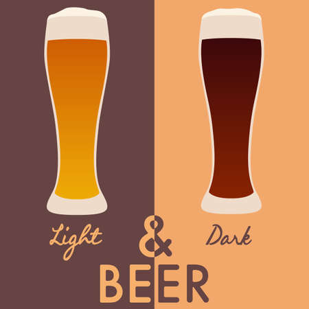 dark beer: Light and dark beer. Vector illustration