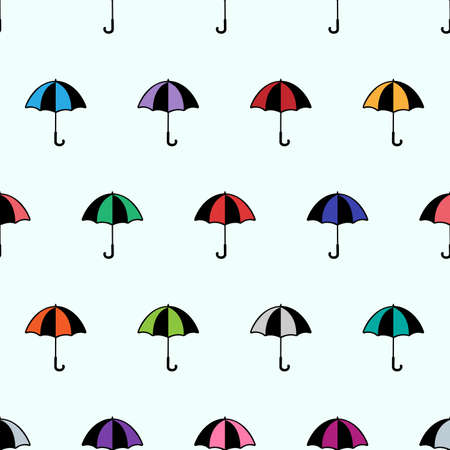 Seamless cartoon background with umbrella. Vector illustration