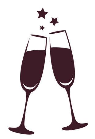 Champagne glasses Stock Illustratie