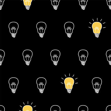 Seamless vector pattern, texture or background with light bulbs