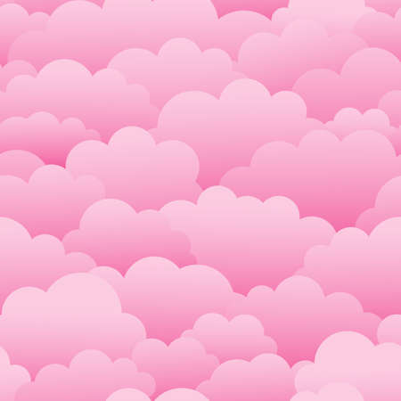 Pink clouds. Seamless vector pattern Stock Illustratie