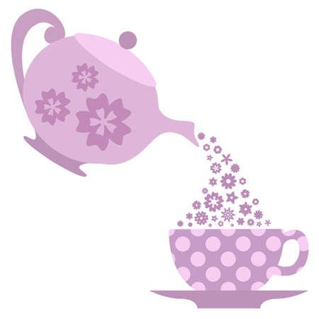Pouring tea. Vector illustration Illustration