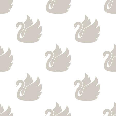 animalistic: White swan. Seamless vector pattern Illustration