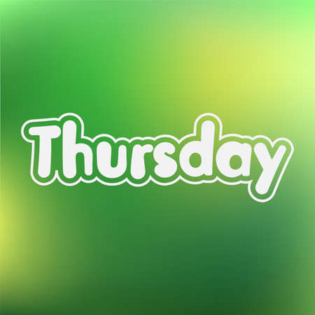 thursday: Thursday. Vector card for social media content, cards, wall art, website, blog