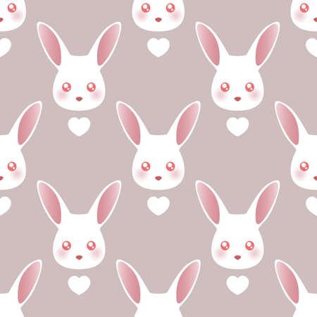White rabbit. Cartoon seamless pattern