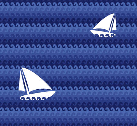 Vector seamless patterns with boats on the waves