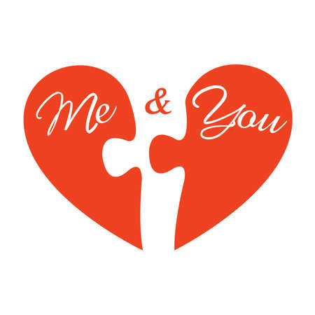 me: Me and you. Two pieces of heart. Vector illustration Illustration