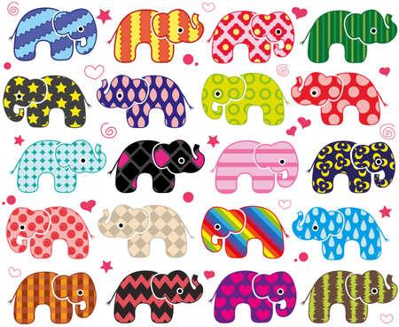 Cartoon funny elephants. Cute seamless pattern wallpaper background in vector.