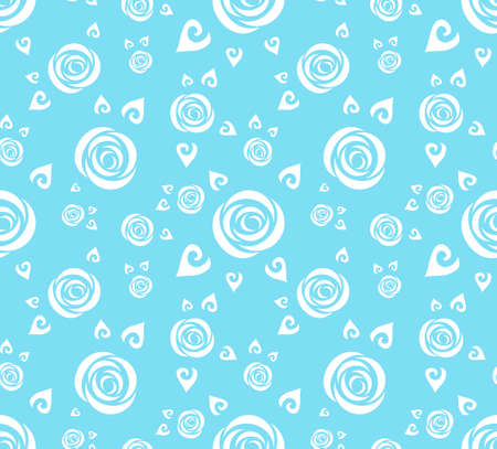 White abstract roses in a blue background. Seamless vector wallpaper