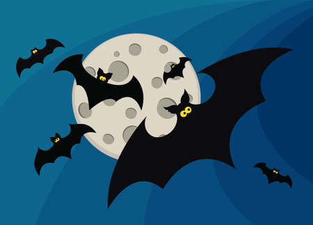 Halloween card with moon and bats Illustration