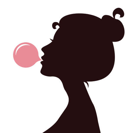 Young women blowing bubble gum Stock Illustratie