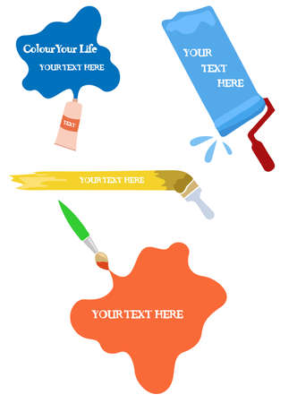 tinting: Vector set of paint roller, brushes and tube of paint Illustration