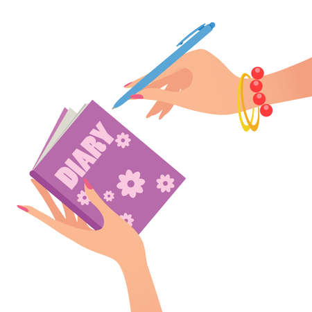 diary: Diary Note In Woman Hand