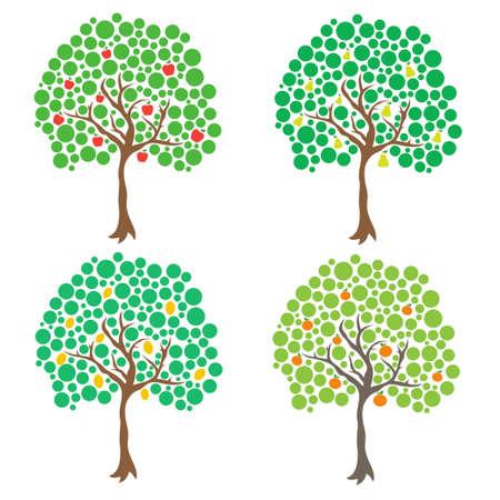 Fruit trees. Vector clip art Illustration