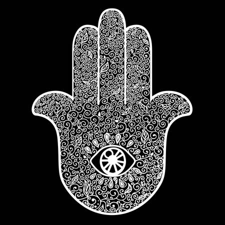 Doodle hand drawn Hamsa. Good luck amulet in Indian, Arabic Jewish cultures. Vintage style isolated vector illustration. Tattoo, boho, yoga, spirituality, textiles element