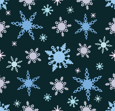 Pattern with snowflakes in cartoon doodle style