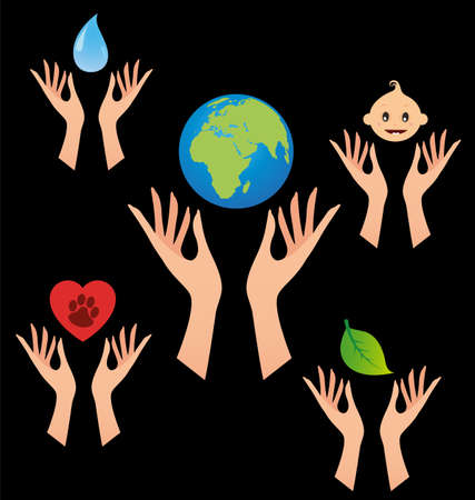 black baby boy: Vector with human hands. Taking care of the Earth, children, water, nature and animals Illustration