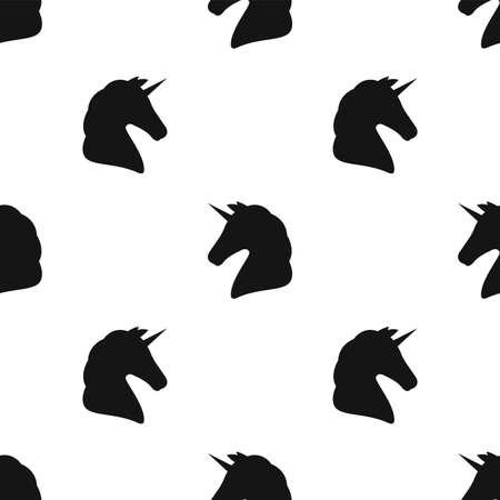 Unicorn silhouette. Seamless pattern