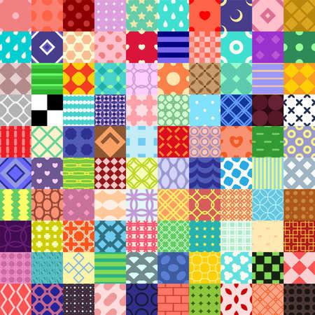 100 cartoon vector seamless patterns