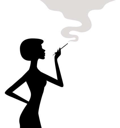 Silhouette di donna di fumare Vettoriali