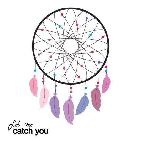 Let me catch you. Vector illustration with dreamcatcher.