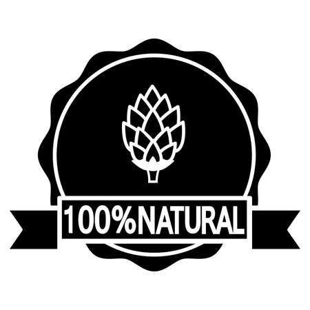 badge with ribbon: natural beer. Circular icon or bottle cap design with text and hop. Vector illustration on white