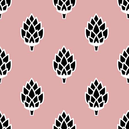Seamless pattern with hops. Cartoon vector wallpaper Illustration