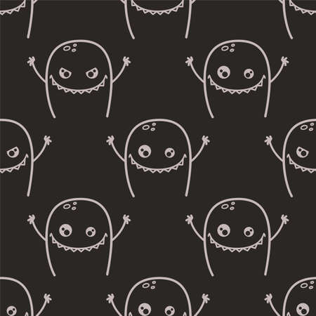 Cute doodle monsters. Seamless vector pattern Illustration