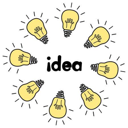 Cartoon vector illustration with  light bulbs.  Idea concept Illustration