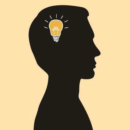 skulp: Cartoon illustration of idea bulb in human head