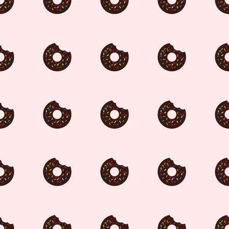 Bitten donut. Seamless pattern