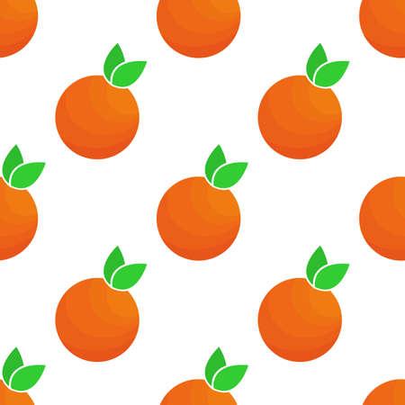 Seamless orange mandarin with green leaves. Vector pattern