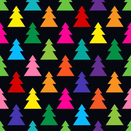 Colorful Christmas trees. Seamless vector pattern