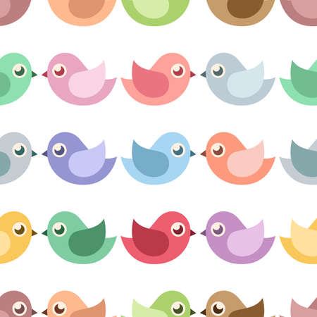 Colorful little birds. Seamless vector pattern