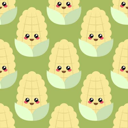 Seamless pattern of cute cartoon corns