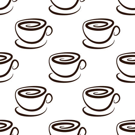 Cup of coffee. Vector seamless pattern