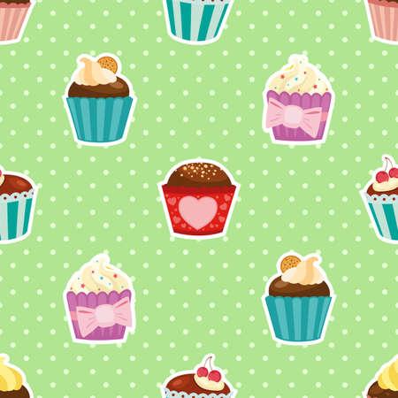 Cartoon little cakes. Vector pattern