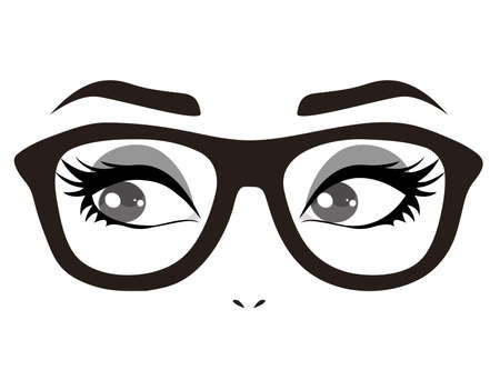 Eyes with glasses