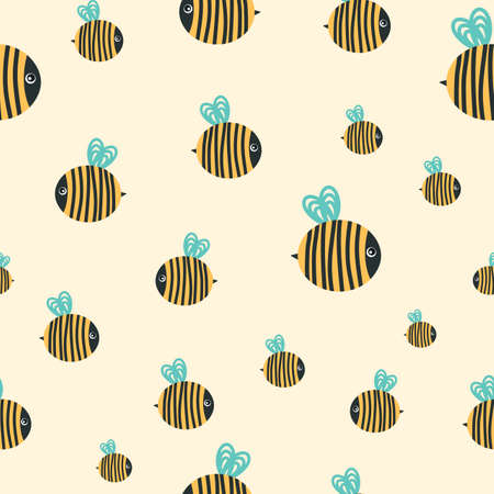 Cartoon bees. Seamless vector pattern Illustration
