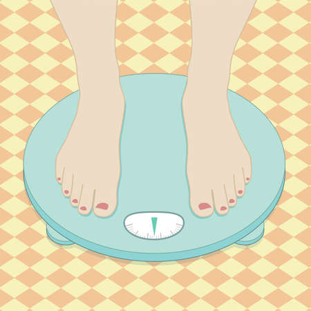 losing control: Feet on weighing scales. Vector illustration
