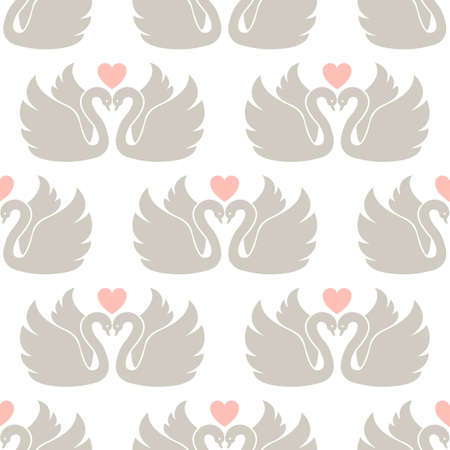 swans: Two swans. Vector wallpaper