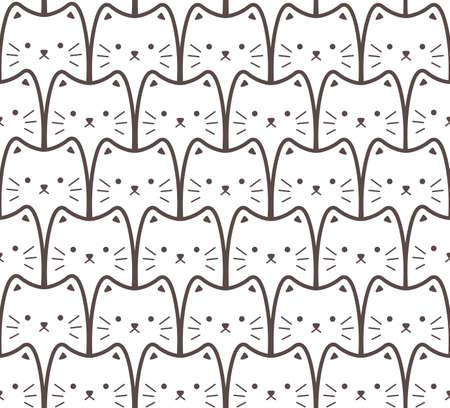 White cats. Seamless cartoon pattern Illustration