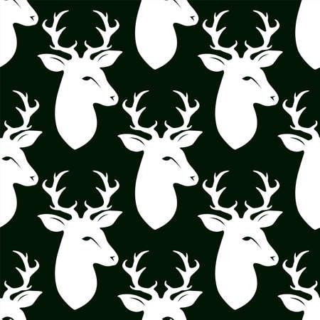 Deer head with horns. Seamless vector pattern